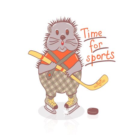 hockey stick: Hand drawn cartoon hedgehog plays hockey.Healthy lifestyle animal Illustration