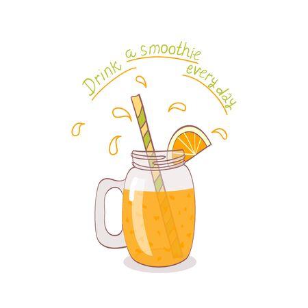 mason: cartoon hand drawn mason jar with fruit smoothie.