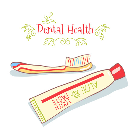 odontology: cartoon hand drawn toothpaste and toothbrush on white background Illustration
