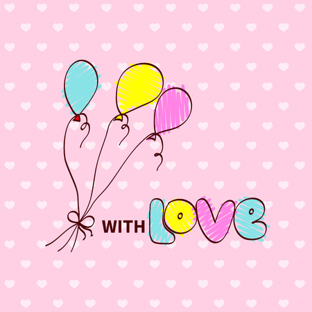 marriage cartoon: Baby shower cartoon drawing of air ballons and note with love