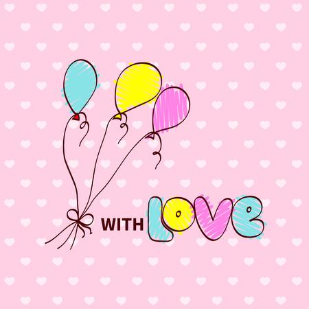enamorados caricatura: Bebé ducha dibujo de la historieta de impulsos del aire y la nota con amor Vectores
