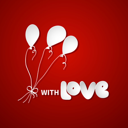 ballons: Paper drawing of air ballons and note with love