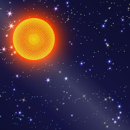 starry sky: Abstract futuristic cyber fiery sunrise on starry sky background.