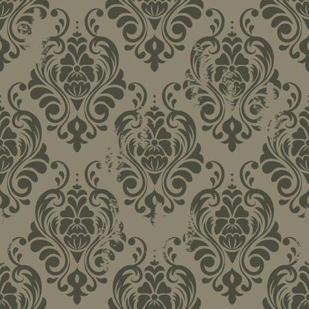 Damasco textura sin fisuras patrón de estilo wallpapers.Grunge con arañazos y polvo