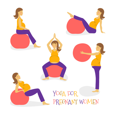 set cartoon hand icon fitness yoga for pregnant woman on fitball