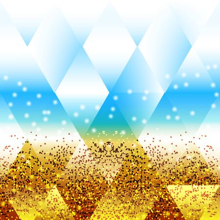 patchwork landscape: Stylisation blur summer background beach sea sand and sunlight.Faceted effect Illustration