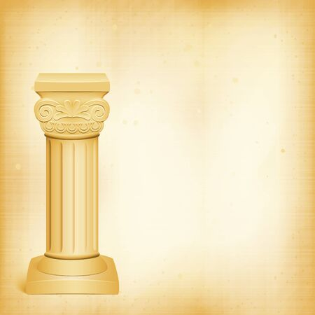 architectural  detail: Classic architectural detail  roman column close up on background old paper