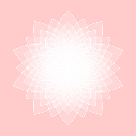 Abstract lotus symbol of sacred geometry flower of life on pink background Illusztráció