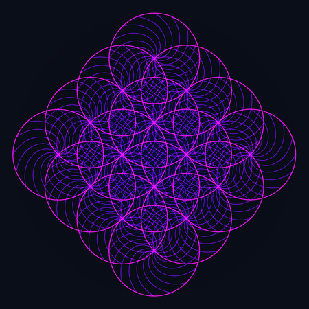 Abstract variations symbol of sacred geometry flower of life neon light on dark background