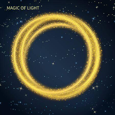 starry sky: magic neon light circular lines galaxy on on starry sky background Illustration