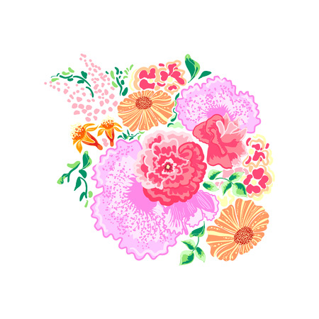 perennial: Abstract floral bouquet of pastel perennial flowers on a white background in vintage style print for textiles Illustration
