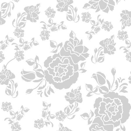sin patrón de adornos florales de rosas para el fondo de pantalla en la impresión del estilo de la vendimia para los textiles Ilustración de vector