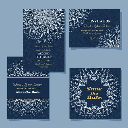 tarjeta de boda o de la frontera background.Set Invitación del modelo de calado floral de la vendimia con el cordón