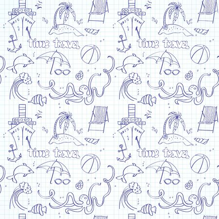 palm of hand: Seamless pattern of the sketches of marine elements and beach holidays