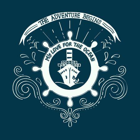 yachting: Banner sailing, yachting club.Artwork for T-shirt print