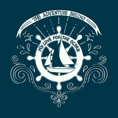 yachting: Banner sailing, yachting club. Artwork for T-shirt print