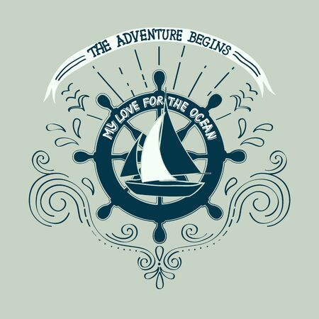 yachting: Banner sailing, yachting club. Artwork for T-shirt print