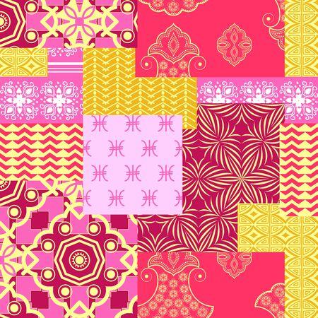 bandanna: Bandanna patchwork fabric.Seamless pattern in custom colors Illustration