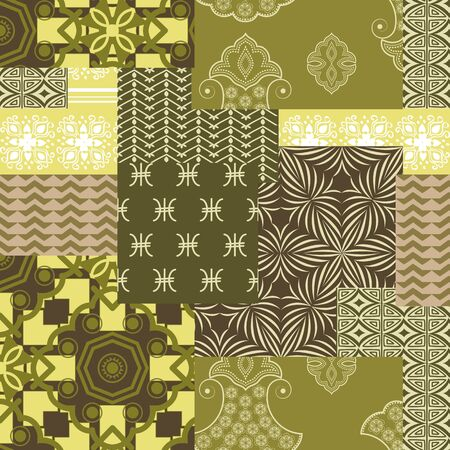 bandanna: Bandanna patchwork fabric .Seamless pattern in camouflage colors