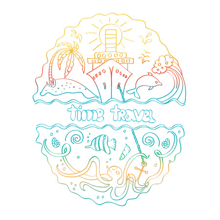 marine animals: Sea design with ship and anchor, island and palm trees, as well as marine animals with hand lettering Time travel.