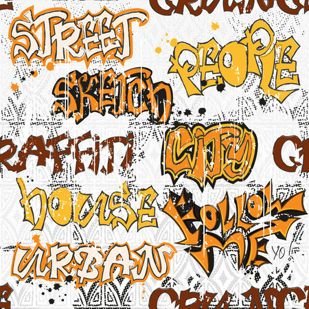 urban grunge: Seamless pattern in style of urban graffiti.Graphic Design - for t-shirt, fashion, prints or banner