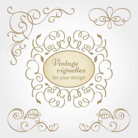 antique frames: Vector vintage collection: Baroque and antique frames, labels, emblems and ornamental design elements Illustration