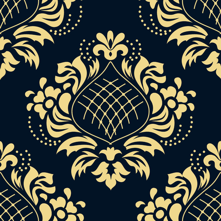 Luxury damascus seamless pattern of floral ornament wallpaper background in vintage style Illustration