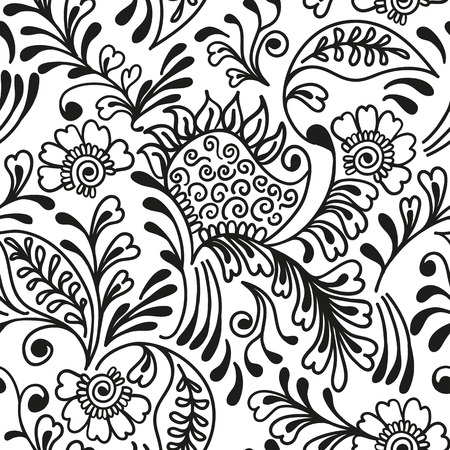 Seamless pattern Ornamental. Mehndi style.Floral paisley ornament. Ethnic decorative elements. Hand drawn background.
