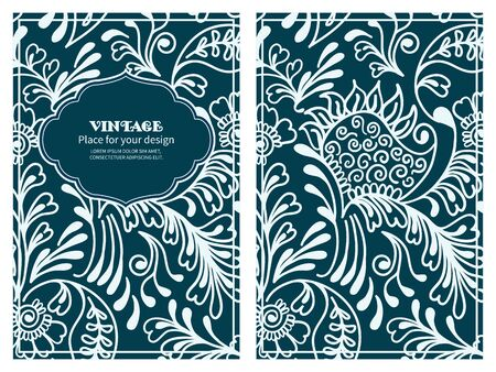 motive: Vintage floral background.Set wedding card or invitation border openwork pattern with mehndi motive