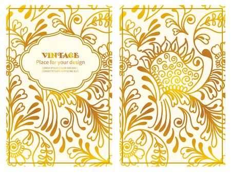 openwork: Vintage floral background.Set wedding card or invitation border openwork pattern with Mehndi motive
