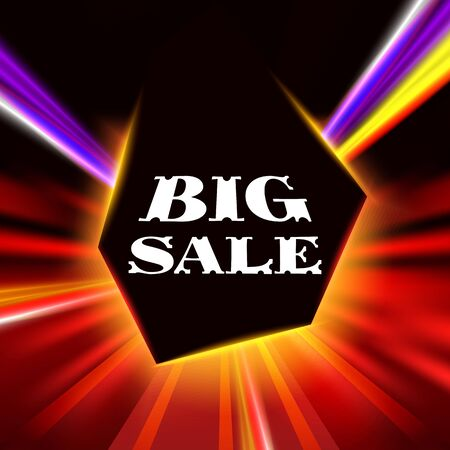 Big sale banner.The frame on the black background with bright shiny radial rays