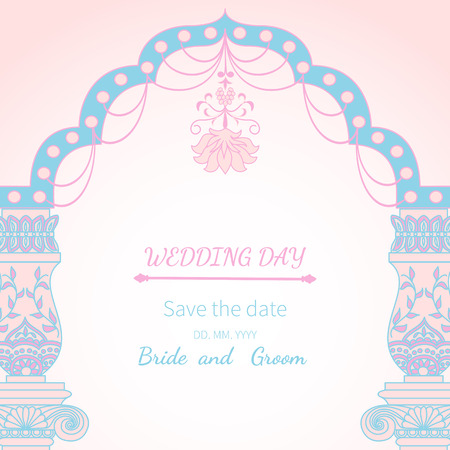 archway: Postcard invitation to wedding.Frame vintage archway ornate, royal architecture