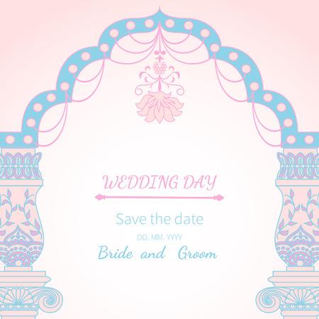 vintage postcard: Postcard invitation to wedding.Frame vintage archway ornate, royal architecture