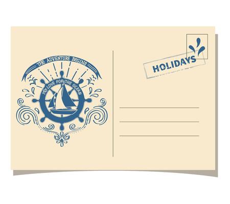 vintage postcard: Vintage template postcard with sea boat ship
