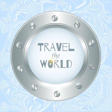 porthole: metal porthole with seascape on abstract background