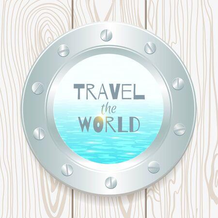 porthole: metal porthole with seascape on wooden background Illustration