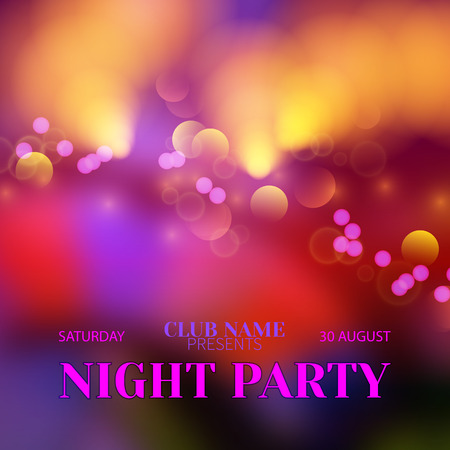 disco background: Vector festive banner design template for Club Night Party.Magic blurred disco background with bokeh effect and colorful crowd of people.