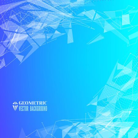 fragments: Futuristic background with geometric triangular fragments and dots.Flying space debris.Abstract blue backdrop for business presentation.