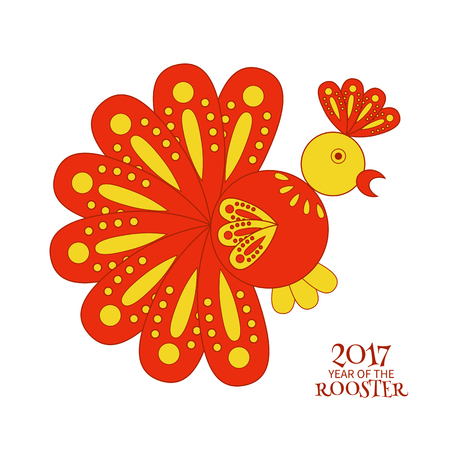 Greeting card of a stylized red rooster symbol of 2017 new year Illustration