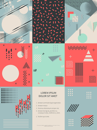 Set of cards Memphis style background with trendy geometric elements.Modern abstract design poster, cover, card design