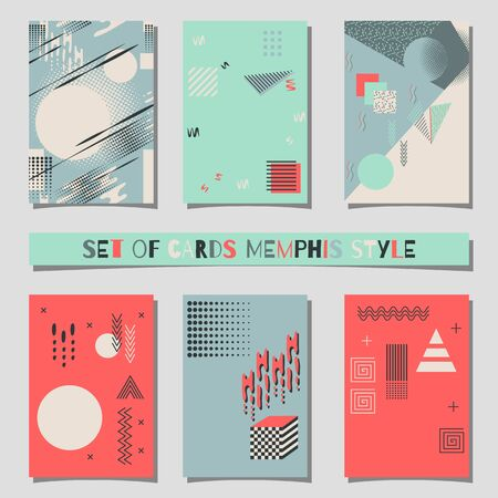Set of cards Memphis style background with trendy geometric elements.Modern abstract design poster, cover, card design Banco de Imagens - 61904766
