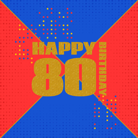 Anniversary card 80 years birthday.Design for poster or invitation. Memphis style Illustration