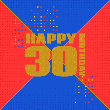 Anniversary card 30 years birthday.Design for poster or invitation. Memphis style Illustration