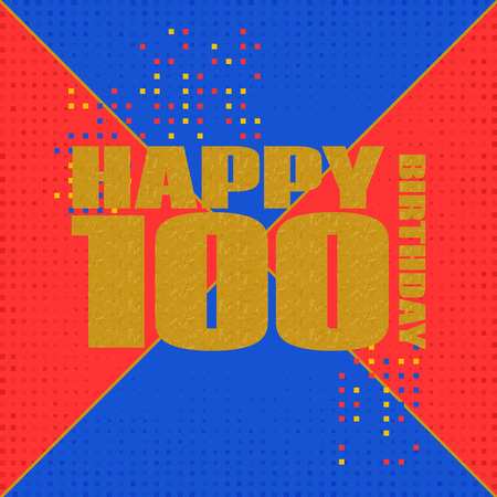 Anniversary card 100 years birthday.Design for poster or invitation. Memphis style