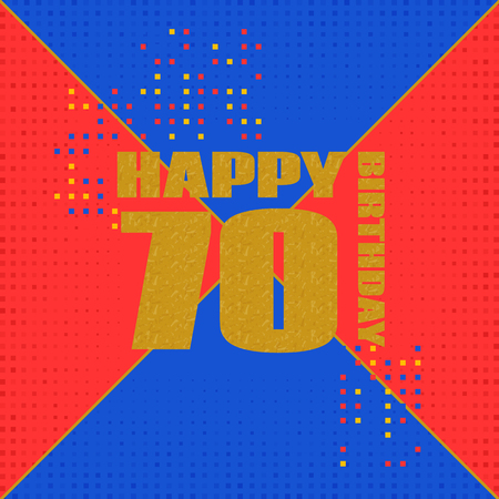 Anniversary card 70 years birthday.Design for poster or invitation. Memphis style