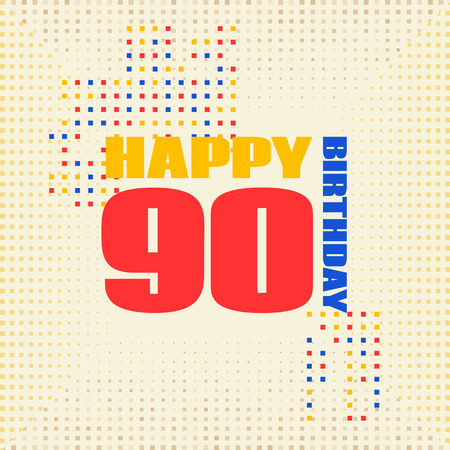 Anniversary card 90 years birthday.Design for poster or invitation. Memphis style