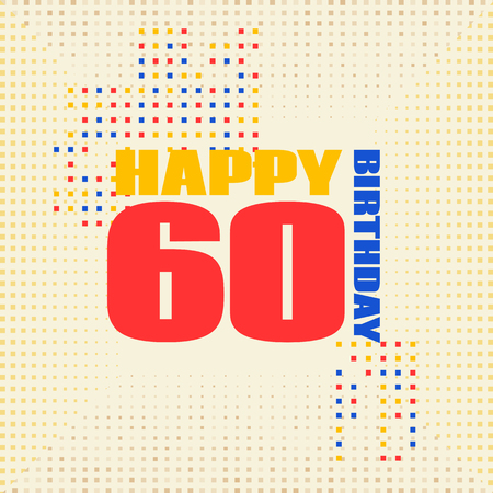 Anniversary card 60 years birthday.Design for poster or invitation. Memphis style