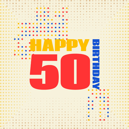 Anniversary card 50 years birthday.Design for poster or invitation. Memphis style