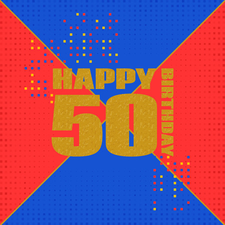 jubilees: Anniversary card 50 years birthday.Design for poster or invitation. Memphis style