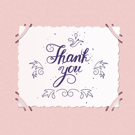 tip style design: THANK YOU hand lettering - handmade calligraphy.Phrase Thank you on photograph in old scrapbook.Vector illustration